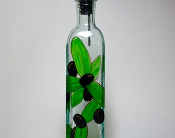 Olive oil bottle with black olives recycled glass hand painted