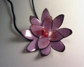 Purple Flower with Iridescent Bead Center OOAK Vitreous Enamel Unique Pendant Necklace