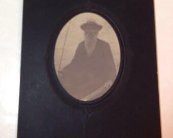 Antique Black & White Photo Man With Beard