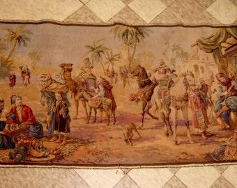 "Victorian Tapestry Arabian Market old vintage antique textile 38.5"" x 19.5"""