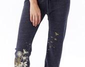 Dandelions Pants, Flying Birds Crop Pants, Yoga pants, Capri pants, Workout pants