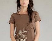 Clearance Sale Women's graphic t-shirt, Dandelions, Birds in Flight Women's Organic Short Sleeve t-shirt, Gift for Her