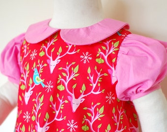 OH DEER baby girl Christmas dress with short puff sleeves and peter pan collar, retro toddler girls handmade Christmas red party dress