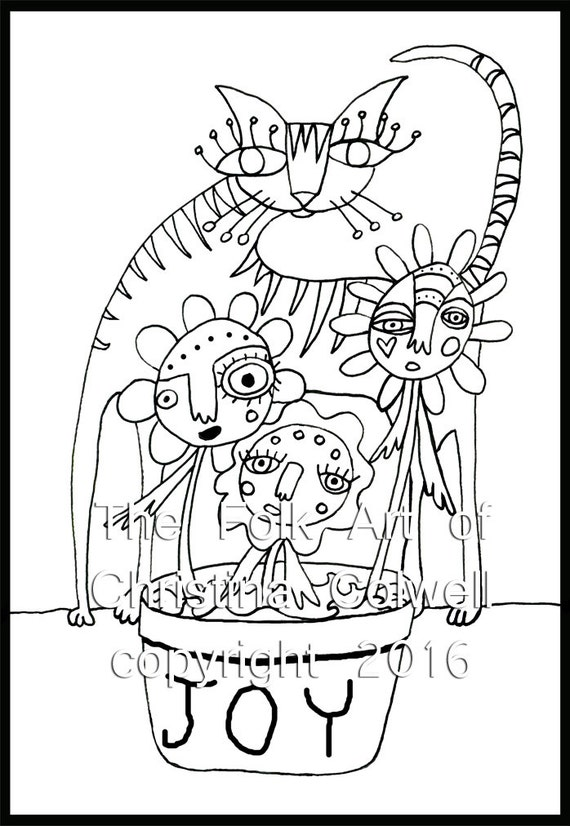 adult coloring page cat and the flower pot download 8 5 u0026quot  x