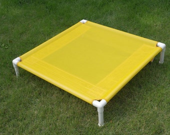 Cat Bed, Cat Window Bed, Small Dog Bed, Medium Outdoor Dog Bed, Pet Bed, Mesh Dog Cot Yellow OR Blue, 2 Sizes 36x36x8 OR 30x30 Ready To Ship