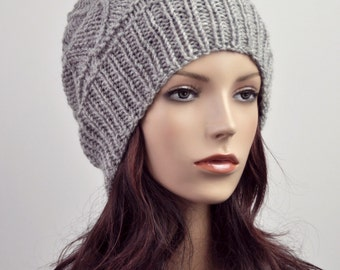 hand knit wool Hat grey woman hat-ready to ship