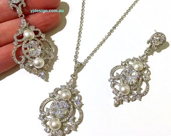 Pearl Wedding Jewelry, Chandelier Earrings, Cz Bridal Earrings, Bridal Necklace, Vintage Bridal Jewelry, Victorian Wedding Necklace, ARYAS