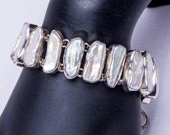 Designer Abalone / Pearl Bracelet - Sterling Link