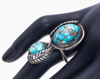 Navajo No. 8 Turquoise Ring - 70s Double Stone - sz 7