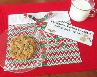 Handmade  Santa  Quilted Placemat, Santa Gift Placemat, Cookies for Santa Placemat,Christmas Placemat for Santa, Quiltsy Handmade