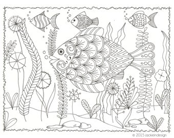 Fish - Coloring Page - PDF - Instant Download