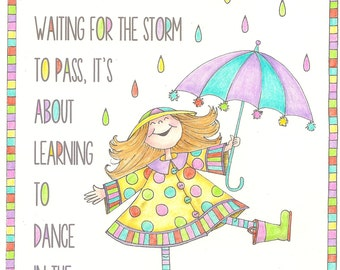 Dance in the Rain - Coloring Page - PDF - Instant Download