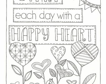 Happy Heart - Coloring Page - PDF - Instant Download