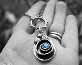 Sterling silver and Swiss Blue Topaz rustic bohemian beach inspired necklace - Coastline -