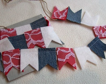Pennant Banner, Pennant Garland, Felt Garland, Party, Memorial Day, Fourth of July, 4th of July Banner, Bunting, Garland, Banner, Holiday