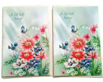 Vintage Get Well Cards, Set of 2 Cards, Unused Cards, Vintage Blue Bird Card, Get Well Soon Card, Retro Get Well Card