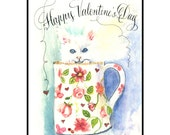 White Cat Valentines Day Greeting Card