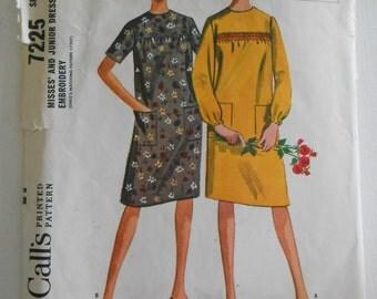 Vintage 60s Shift Dress Pattern McCalls 7225 Size 15 16 18 Bust 35 36 36