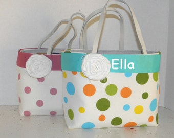 2  Circle Print  Monogrammed/Personalized Tote, Purse, Bridesmaid Gift, Flower Girl, MOB, MOG,Cheer Squad, Brownie