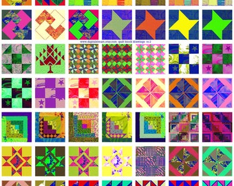 Quilt Block Drawings No.2 Digital Collage Sheet 1x1 Inch Squares 63 Different Images Scrapbooking