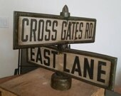 "Vintage Industrial Salvage Original Traffic and Street Sign Co. ""No Bolt"" double signs Black and White"