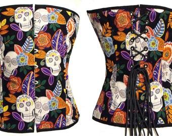 Day Of The Dead XL steel boned overbust corset OOAK