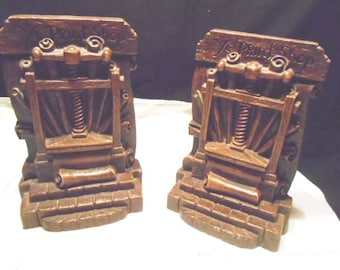 Pair Wood Bookends YE PRINT SHOP Syroco Wood