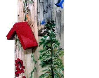 Bird House, Hand Painted, Barn Sceene, Country Sceene