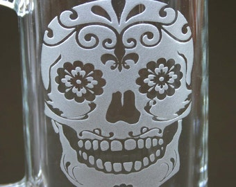 Sugar Skull Etched Beer Mug Engraved Day of the Dead Beer Glass Stein