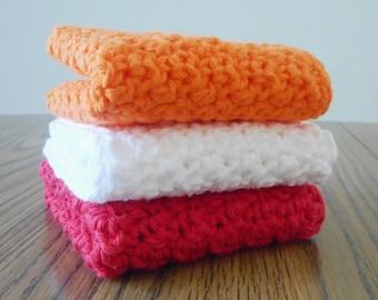 3 Crochet Washcloths in Kumquat