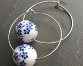 JANE-Shabby Chic Garden Party Cornflower Blue Ceramic Hoop Earrings