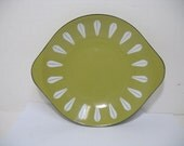 "Vintage Catherineholm Lotus Green Avacado 8.5"" Scampi Tray Plate Mid Century Enamelware"