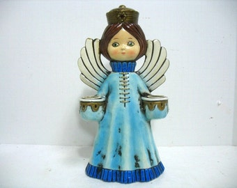 Vintage Christmas Angel Candle Holder Large MIJ Mid Century Double Candlestick