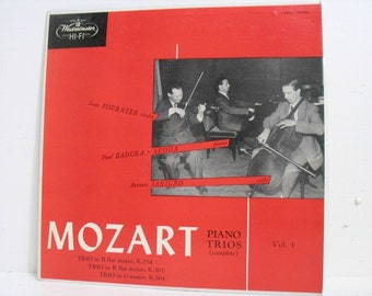 Vintage LP Record Mozart Piano Trios Vol. 1 Westminster XWN 18106 Vinyl Classical Fournier Badura-Skoda Janigro Original 1956