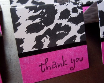 Black and White Leopard Print Mini Thank You Cards (6)