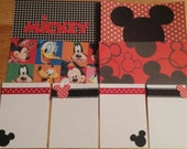 Disney World Mickey Mouse Project Life Inspired Journal, Filler Cards, Document Style Scrapbooking, Scrapbook Black red white