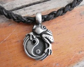 Yin Yang Frog Choker with Spanish leather, pewter and rhinestones