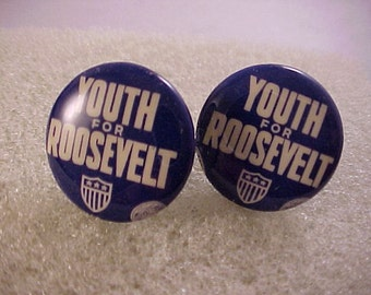 Cuff Links FDR Franklin Roosevelt Campaign Button