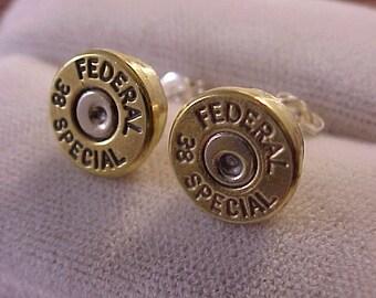 Sterling Silver Bullet Earrings 38 Special Brass Shells