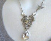 Ivy Necklace, Heart Necklace, Silver Heart Necklace, Garden Wedding, Rhinestone Necklace, Bird Necklace, Victorian, Handmade Weddings