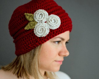 Womens flower hat - cranberry red with a trio of ecru cream roses and olive pea green leaves