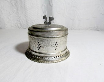 Silver Metal Round Box Bird Finial Pierced Trinket Jewelry Cricket