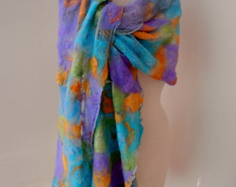 Nuno felted Merino Silk Cotton gauze scarf wrap by plumfish aqua, lavender, peach and lime