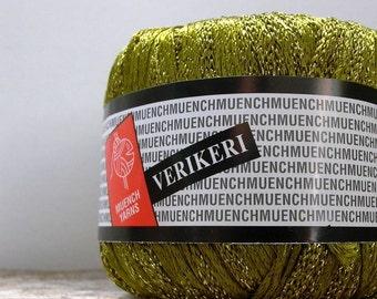 muench verikeri yarn . olive 4111 . sparkling metallic ribbon yarn . 113yds . olive green gold specialty ribbon novelty yarn . destash yarn