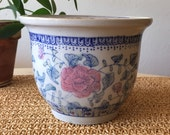 Pink and Blue Flower Pot