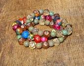 Earthy Bright Czech Glass and Impression Jasper Bracelets Set of 3 rustic glam rainbow orange pink blue turquoise copper bronze brown green