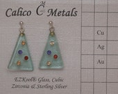 Glass and Sterling Christmas Tree Earrings