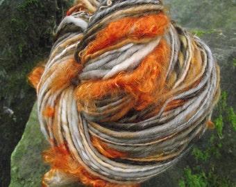 Handspun yarn, art yarn  handpainted mohair locks  organic Polwarth  wool yarn, multiple skeins available-Haunted