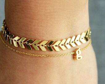 Chevron Bracelet - Gold, Silver, Rose Gold Chevron Bracelet Bridesmaid Gift Bridal Bracelet Dainty Chain Bracelet Layering Bracelet Fancy