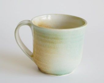 Handmade Ceramic Mug - Ceramic Mug in Turquoise, Rust and Cream - Handmade Porcelain Cup
